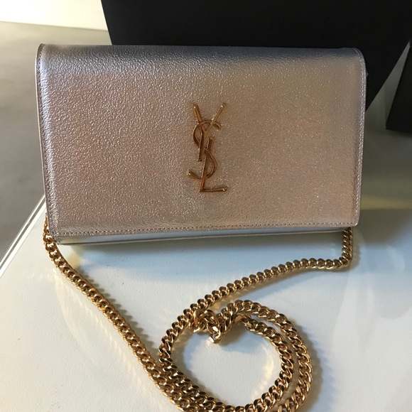 38bd7bdb92a4 Auth YSL Metallic Silver Medium Gold Chains WOC. M 5aebb81c45b30ca82c9f3ec8